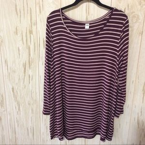 Old Navy Luxe Burgundy and White Striped Top XL